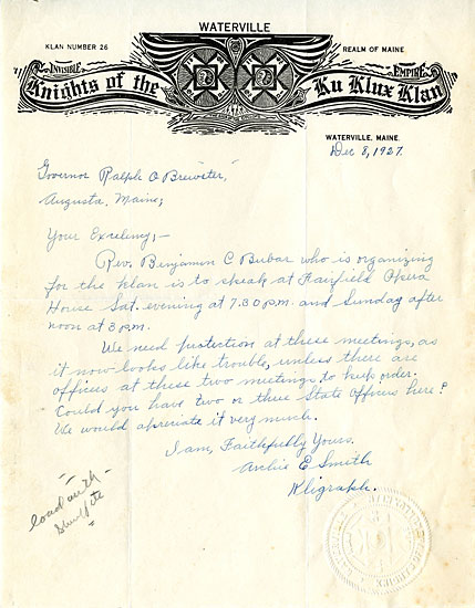 civil rights bowdoin george j mitchell department of special  ku klux klan waterville maine archie smith to governor ralph o brewster