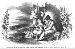 Little Eva Reading the Bible to Uncle Tom in the Arbor. Illustration by Hammat Billings, in Harriet Beecher Stowe's Uncle Tom's Cabin (Boston, 1852). - Billings's drawings appear without credit, but his stylings informed the work of numerous later illustrators; this image in particular became iconic in representing Stowe's story.