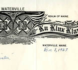 "Ku Klux Klan, Waterville, Maine. Archie Smith to Governor Ralph O. Brewster, 1927 Dec 8 [Ralph Owen Brewster Papers] - Brewster's response to this request for protection of Klansmen reads: ""local auth[ority]—Sheriff, etc."""
