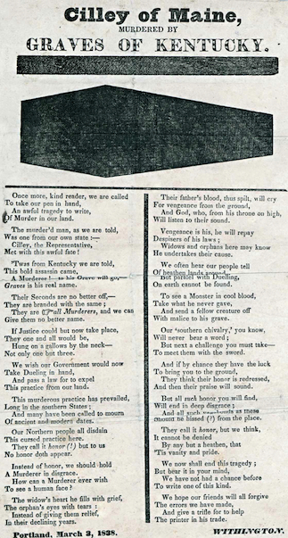 Broadside poem lamenting the death Of Congressman Jonathan Cilley (Portland, Me., 1838)