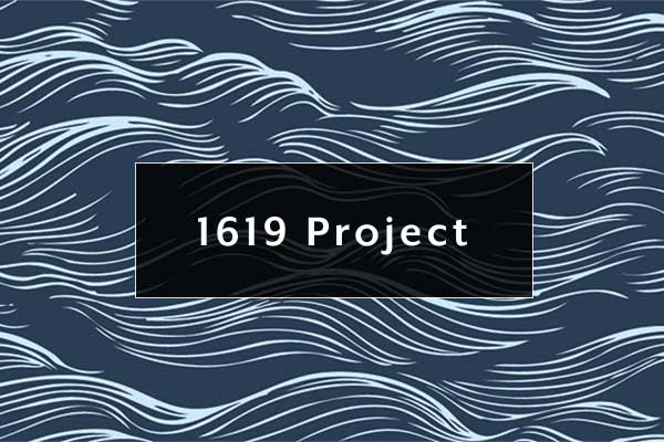 1619 Project logo - white waves on a blue sea